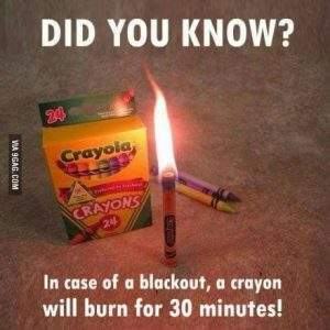 A Crayon Will Burn For 30 Minutes Instead Of A Candle